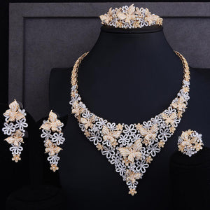 Luxury Bridal  jewelry set with clip Earring Cubic Zirconia beads jewelry set For Women Wedding