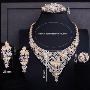 Luxury Bridal  jewelry set with clip Earring Cubic Zirconia beads jewelry set For Women Wedding - moonaro