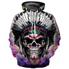 Load image into Gallery viewer, Hoodies Men/Women Thin Cool Fashion 3d Sweatshirts Print Indigenous Skull Hooded Hoodies