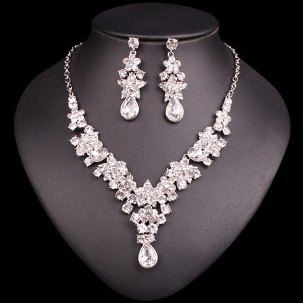 Leaves Flowers Crystal Statement Necklace Bridal Jewelry Party