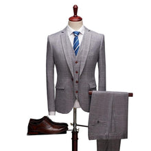 Load image into Gallery viewer, 3 Pieces Plaid Suits Men Slim Fit Mens Suits Designers Navy Grey Burgundy Groom Wedding Suit Formal Wear - moonaro