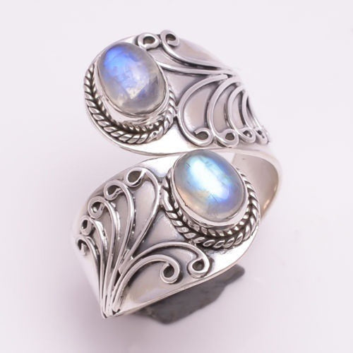 Women Antique Tibetan Silver Big Healing energy Crystal Ring Boho Indian Jewelry Moonstone