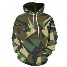 Load image into Gallery viewer, Green Camo Hoodie Men Camouflage Military 3d Hoodies Anime Geometry Print Sweatshirt Gothic Men's