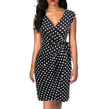 Load image into Gallery viewer, Women Dress Polka Dots Cap Sleeve Black Wrap Vestidos Sheath Bodycon Slim Midi Summer Draped Party Dress
