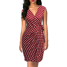 Load image into Gallery viewer, Women Dress Polka Dots Cap Sleeve Black Wrap Vestidos Sheath Bodycon Slim Midi Summer Draped Party Dress - moonaro
