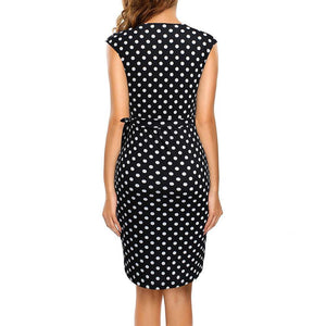 Women Dress Polka Dots Cap Sleeve Black Wrap Vestidos Sheath Bodycon Slim Midi Summer Draped Party Dress - moonaro
