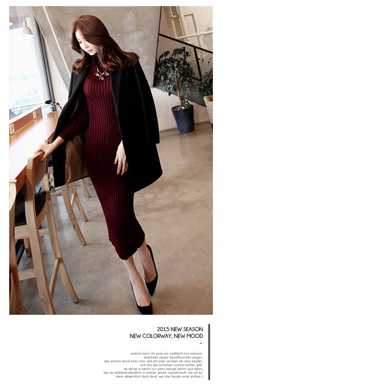 f82d6b91da07 ... Load image into Gallery viewer, Women Winter Sweater Knitted long red Dresses  Slim Elastic Turtleneck ...