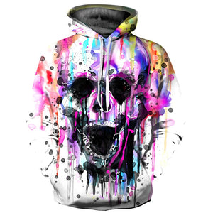 Brand Hoodies Men/Women Thin Cool Fashion 3d Sweatshirts Print Colorful Paint Skull Hooded Hoodies - moonaro