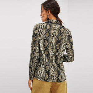 Multicolor V Neck Snake Skin Print Top Elegant Blouses Long Sleeve Ladies Blouse Shirt Women Tops And Blouses