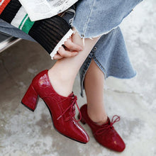 Load image into Gallery viewer, women shoes office ladies career pumps ladies cross tied classic style patent PU leather high heels woman working pumps