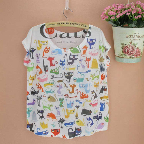 Doodle Cats print Tshirt ladies Novelty pattern t-shirts womens fashion summer tee big size tops tees short sleeved clothing - moonaro