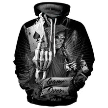 Load image into Gallery viewer, New Fashion Poker Hoodies Men/Women Hooded Hoodies Print Playing Cards Skull Thin 3d Sweatshirts Hoody Tops