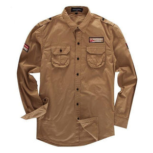Men's Cargo Shirt Casual Long Sleeve Embroidery Solid Shirts Classic Military Shirt Army Green Khaki