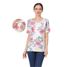 Load image into Gallery viewer, Short Sleeve Nursing Shirt Maternity Clothes Nursing Tops Breastfeeding Clothing for Pregnant Women shirts
