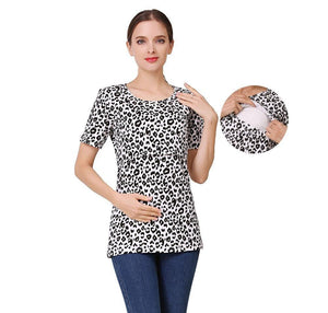 Short Sleeve Leopard Maternity Nursing Clothes Breastfeeding T-Shirt Pregnancy Tops for pregnant women Summer Tee