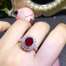 Load image into Gallery viewer, classic luxury 18k yellow gold real diamond natural Ruby gold ring for women wedding - moonaro