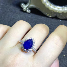 Load image into Gallery viewer, luxury 18k gold real diamond 3.29ct natural Unburnt blue sapphire ring for women engagement wedding