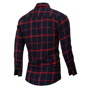 Autumn Double Button Down Pockets Plaid Shirt Long Sleeve Casual Patch Shirts Male Regular Fit