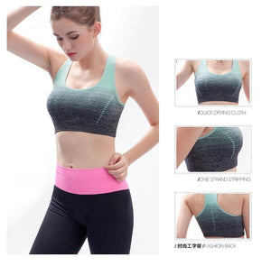 Breathable Sports Bras Women Quick Dry Padded Sports Top for Fitness Yoga Running Gym Seamless Sport vest Top