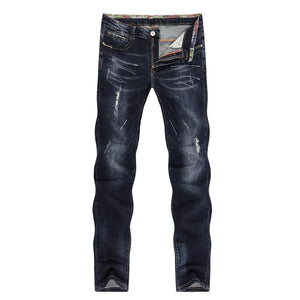 Men's Jeans Ripped Striaght Slim Thick Dark Blue Elasticity Painted Soft Biker Jeans High Street Distressed Cowboys Pants