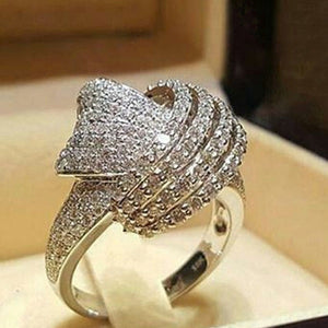 New Hot Fashion Weave Winding Design Full Crystal Zircon Stone Silver Color Engagement Ring For Women Luxury Jewelry Size 6-10