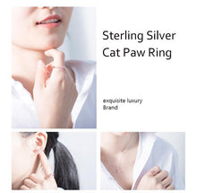 Load image into Gallery viewer, Sterling Silver Bear Paw Rings Open Ring Rose Gold Cat Paw  Dog Paw Rings for Women Wedding Pink Crystal CZ Cat Lovers Gift