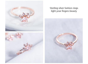 Sterling Silver Bear Paw Rings Open Ring Rose Gold Cat Paw  Dog Paw Rings for Women Wedding Pink Crystal CZ Cat Lovers Gift