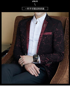 Luxury Party Prom Blazer Shinny Yarn Wine Red Blue Black Contrast Collar Dress Dinner Blazer Homme Slim Fit Suit Coat Jacket - moonaro