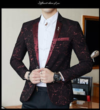 Load image into Gallery viewer, Luxury Party Prom Blazer Shinny Yarn Wine Red Blue Black Contrast Collar Dress Dinner Blazer Homme Slim Fit Suit Coat Jacket - moonaro