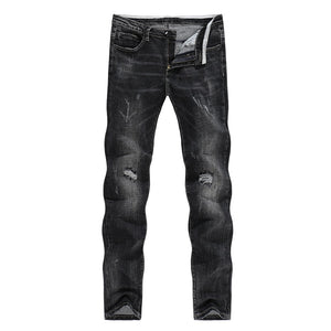 Men's Biker Jeans Black Thick Stretch Slim Straight Ripped Hip Hop Holes Male Pants Denim Mens Clothes High Street