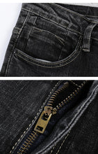 Load image into Gallery viewer, Men's Biker Jeans Black Thick Stretch Slim Straight Ripped Hip Hop Holes Male Pants Denim Mens Clothes High Street