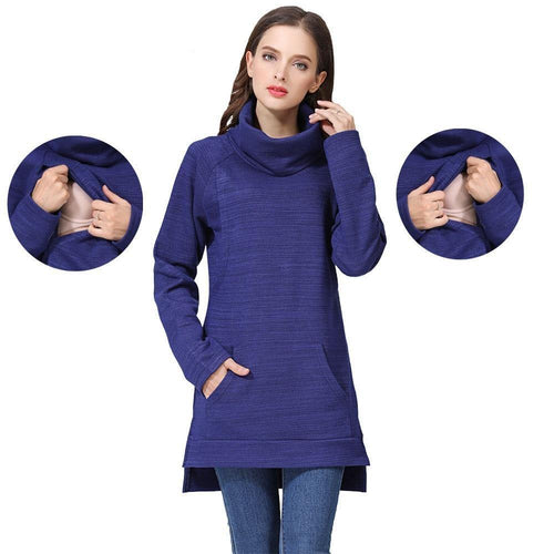 Elegant Maternity Clothes Thermal breastfeeding Coat Turtle Neck Nursing Sweaters Hoodie the Color of  Dark Blue
