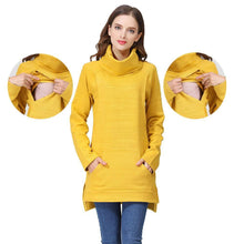 Load image into Gallery viewer, Elegant Maternity Clothes Thermal breastfeeding Coat Turtle Neck Nursing Sweaters Hoodie the Color of  Yellow