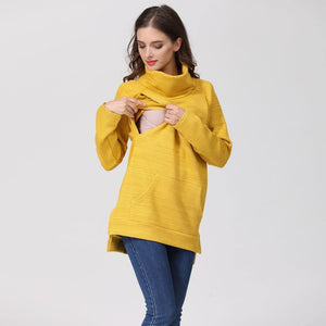 Elegant Maternity Clothes Thermal breastfeeding Coat Turtle Neck Nursing Sweaters Hoodie the Color of  Yellow