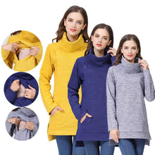 Load image into Gallery viewer, Elegant Maternity Clothes Thermal breastfeeding Coat Turtle Neck Nursing Sweaters Hoodie New Arrivals