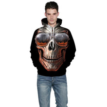 Load image into Gallery viewer, Brand Hoodies Men/Women Thin Cool Fashion 3d Sweatshirts Print Glasses Fire Skull Hooded Hoodies - moonaro