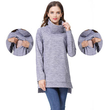 Load image into Gallery viewer, Elegant Maternity Clothes Thermal breastfeeding Coat Turtle Neck Nursing Sweaters Hoodie the Color of Gray.