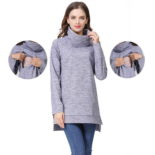 Elegant Maternity Clothes Thermal breastfeeding Coat Turtle Neck Nursing Sweaters Hoodie the Color of Gray.