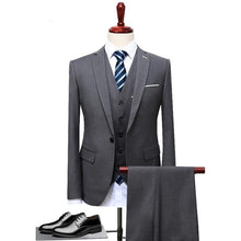 Load image into Gallery viewer, Mens Suits Wedding Groom Plus Size 4XL 3 Pieces(Jacket+Vest+Pant) Slim Fit Casual Tuxedo Suit Male