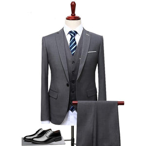 Mens Suits Wedding Groom Plus Size 4XL 3 Pieces(Jacket+Vest+Pant) Slim Fit Casual Tuxedo Suit Male