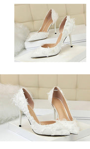 Spring Autumn The Women Thin Heels Women Fur Pumps Career OL Sexy  Ladies shoesConcise Women Shallow Mouth Shoes