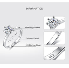 Load image into Gallery viewer, 925 Sterling Silver Rings Wedding Sparkling Cubic Zirconia Crystal Finger Ring for Women Fashion Silver Jewelry - moonaro