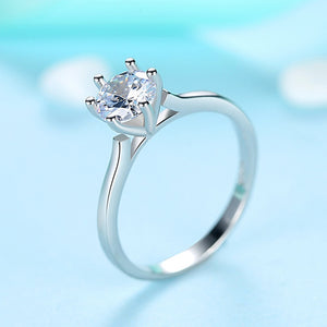 925 Sterling Silver Rings Wedding Sparkling Cubic Zirconia Crystal Finger Ring for Women Fashion Silver Jewelry - moonaro