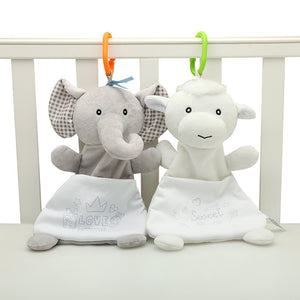 Baby Toys 0-12 Months Appease Towel Comfort Plush Animal Rabbit Dog Sheep Elephant Educative Baby Rattles Mobiles Stroller Toys - moonaro