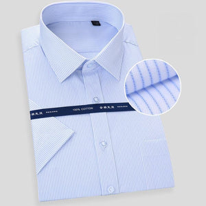 pure cotton solid striped dobby turn down collar short sleeve non-iron summer comfortable men formal shirts