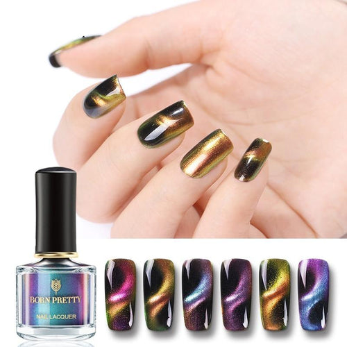 3D Cat Eye Nail Polish Magnetic Aurora Series 6ml Varnish Magnet Nail Art Lacquer Black Base Needed - moonaro