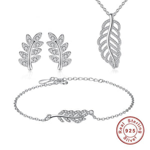 Leaf Crystal Bridal Jewelry Sets 925 Sterling Silver Necklace Long Earrings African Beads Wedding Jewelry Sets
