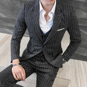 3 Piece Stripe Suits Men Designer Casual Man Suit Slim Fit Groom Wedding Suit Sky Blue Khaki Grey Burgundy 5XL - moonaro