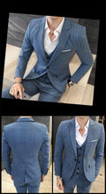 Load image into Gallery viewer, 3 Piece Stripe Suits Men Designer Casual Man Suit Slim Fit Groom Wedding Suit Sky Blue Khaki Grey Burgundy 5XL - moonaro