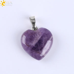 Love Heart Necklaces & Pendants for Lover Gem Stone Pink Quartz White Crystal Healing Necklace